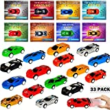 HXS 33 Pack Valentines Cards for Kids Valentines Gifts Racing Car Valentine Class Gifts Toys Pull Back Car for Kids Valentine Classroom Exchange Valentine's Day Greeting Party Favors