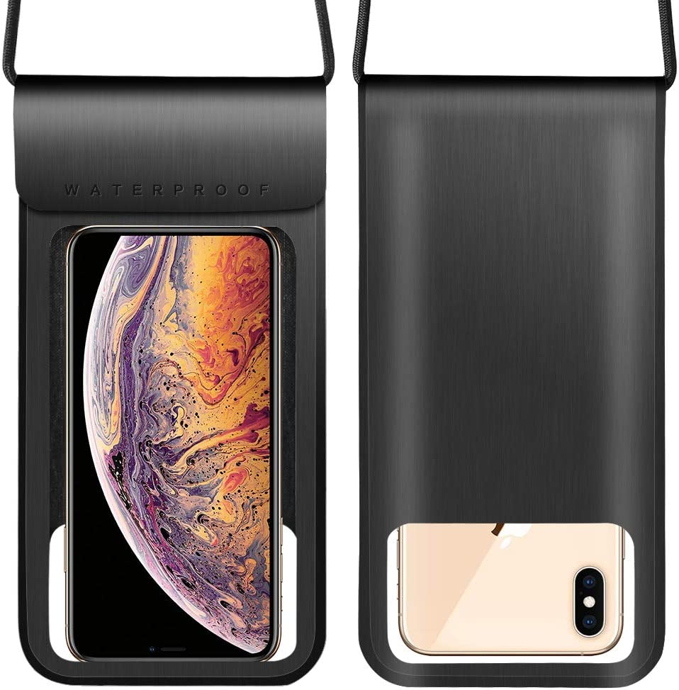 Cellphone Dry Bag w/Adjustable Lanyard Compatible for Apple iPhone 11 XR XS Max/Galaxy S21+ S20 FE Note 10+ A10s A11 A20 A22 A31 A51 A52 A71 / Moto E G Power Stylus 2020 / OnePlus 9R 8T (Black)