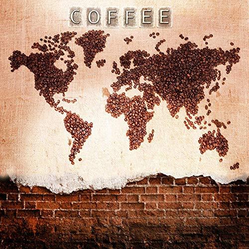 Foto 3D Kaffee Herkunft Tapete, KTV Theme Hotel Restaurant Club Cafe Hintergrund Kaffee Landkarte, Tapete Wandbild 280 cm (B) x 180 cm (H)