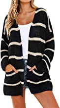 TOPUNDER Striped Cardigans with Pocket for Women Long Sleeve Open Front Sweaters Tops