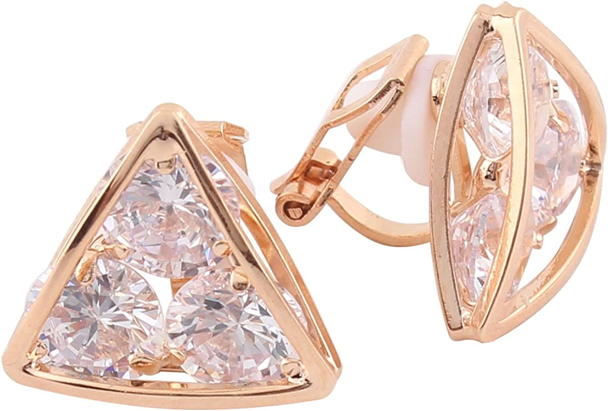 18K Gold plated or Platinum Plated Bridal AAA CZ Triangle Shape Clip on Earrings Non Piercing for Women