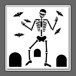 12 X 12 Skeleton Dancing in Graveyard Stencil Template Halloween/Bats/Tombstones
