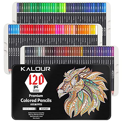 Kalour 120 Premium Colored Pencils Set for Adult Coloring Books - Soft Core - Professional Art Drawing Pencils for Drawing Sketching Shading Blending - Gift Tin Box for Artists Beginners