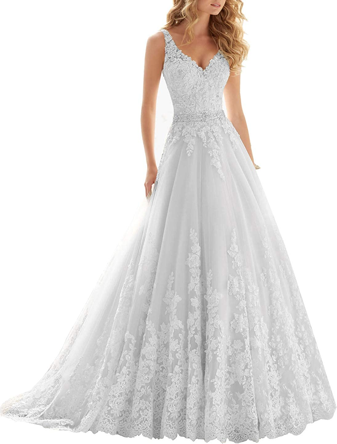 Lace Appliques Wedding Dresses for Bride V Neck Beaded Straps Bridal Gown Long 2021 for Women