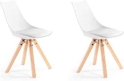 Loungitude - Lot de 2 chaises PP pieds hêtre naturels - Blanc