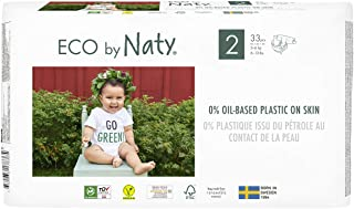 Eco by Naty, Size 2, 132 Diapers, 6-13 lbs, ONE MONTH supply, Plant-based premium ecological diaper with 0% oil plastic on...