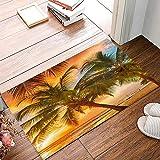ALAGO Tropical Beach Palm Trees Sunrise Doormats Entrance Front Door Rug Outdoors/Indoor/Bathroom/Kitchen/Bedroom/Entryway Floor Mats,Non-Slip Rubber,Low-Profile