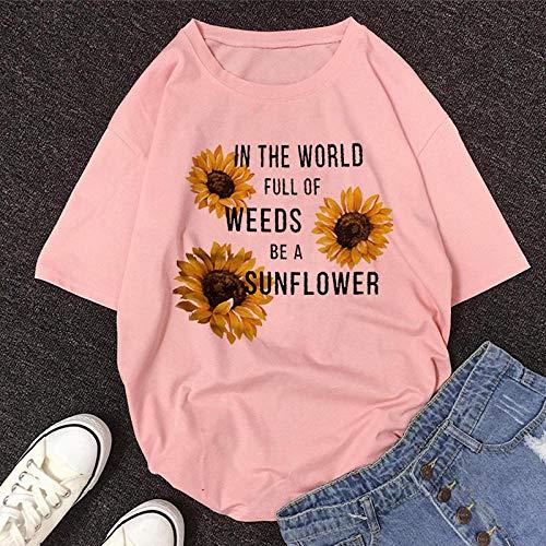 T-Shirt Femme Tshirt New Summer O-Neck Manches Courtes T-Shirt Mignon De Bande Dessinée Femmes XXL 11474-Rose