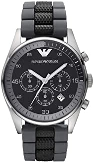 Emporio Armani Sportivo Men'S Black Dial Silicone Band Chronograph Watch Ar5866, Japanese Chronograph Quartz, Analog