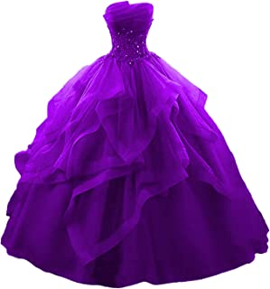 Fair Lady Ruffles Ball Gown Long Quinceanera Dresses Strapless Lace Beaded Prom Dress Princess Gowns