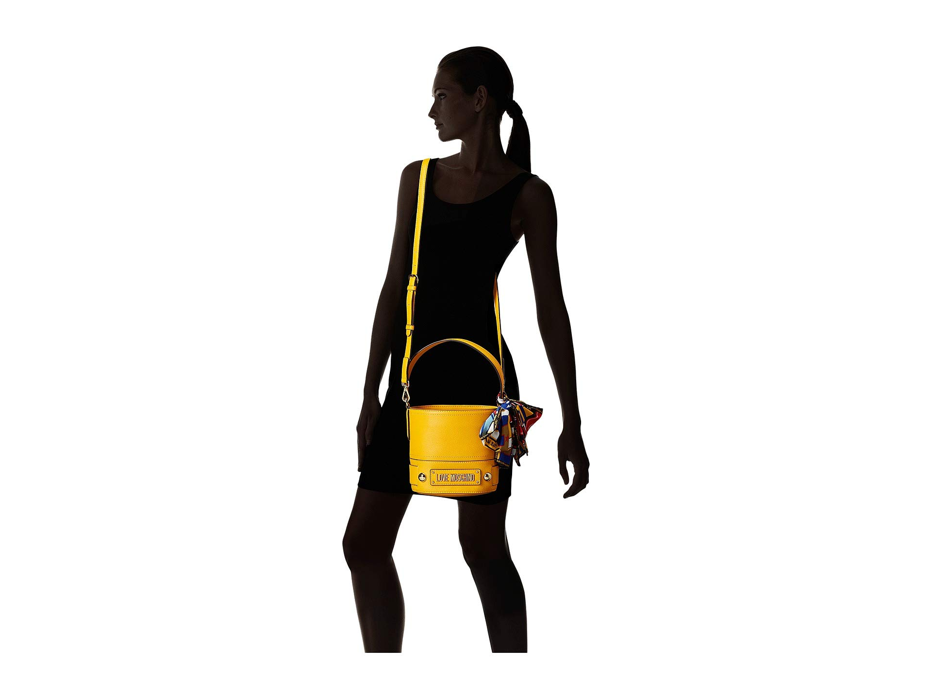 Scarf Bucket Bag Love With Yellow Moschino P1RqUvHw
