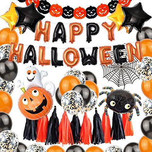 WENTS Halloween Ballons 48 Stücke Halloween Deko Grusel Dekoration Set Mit Fledermaus, Kürbiskatze, Kürbiss, Hallooween Letter Ballons für Halloween Party Dekoration