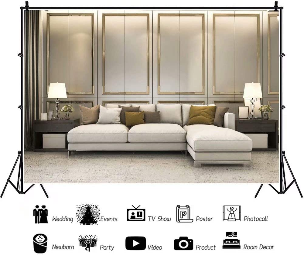 DaShan 14x10ft Living Room Backdrop Modern Concise Style Modern Sofa Indoor Interior Floor Tiles Wedding Party Decoration Photography Background Kids Adults Art Protrait Photo Studio Props