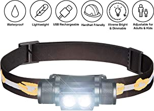 SLONIK 1000 Lumen Rechargeable 2x CREE LED Headlamp w/ 2200 mAh Battery - Lightweight, Durable, Waterproof and Dustproof Headlight - Xtreme Bright 600 ft Beam - Camping and Hiking Gear