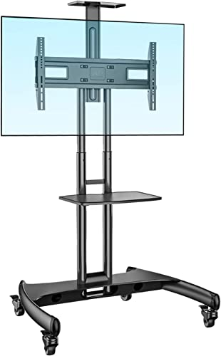 NB North Bayou Mobile TV Cart TV Stand with Wheels for 32 to 65 Inch LCD LED OLED Plasma Flat Panel Screens up to 100...
