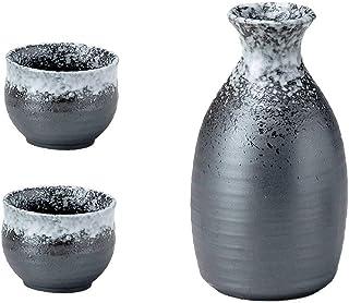 Sake Set de Bebidas, japonés Mino-yaki Negro y Blanco Esmalte de cerámica Sake Set, 1 Decantador 350 CC y 2 Tazas Guinomi 70 ml, Fabricado en Japón K80301 K80302