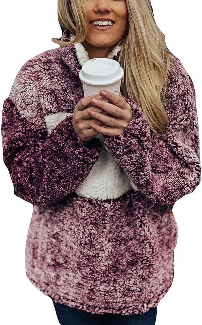 LOPJGH Womens Winter Faux Shearling Shaggy Coat Jacket with Pockets Warm Winter