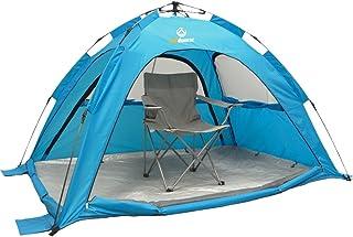outdoorer Refugio de Playa automático SunSnapper, Color Verde o Azul, Factor de protección Solar UV 80, con 3 Ventanas y 4 Puertas