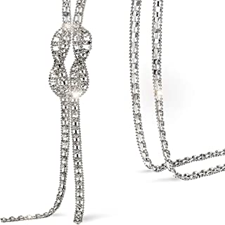 Trendy Crystal Long Necklace All-Match Style Shining Clothing Sweater Chain