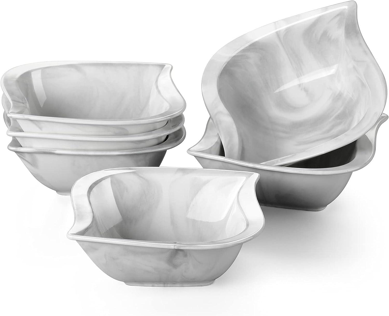 MALACASA Porcelain Cereal Bowls Set Marble mart Ounce Desser Ranking TOP6 12 Gray