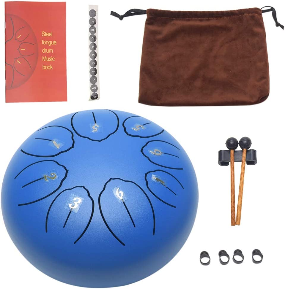 Mind Healing Tongue Drum,Standard C key 8 Notes 6 Inches Titanium Steel Alloy Tongue Drum,with 1 Pair Drum Mallets and Portable Drum Bag,Easy To Play,for Music Education