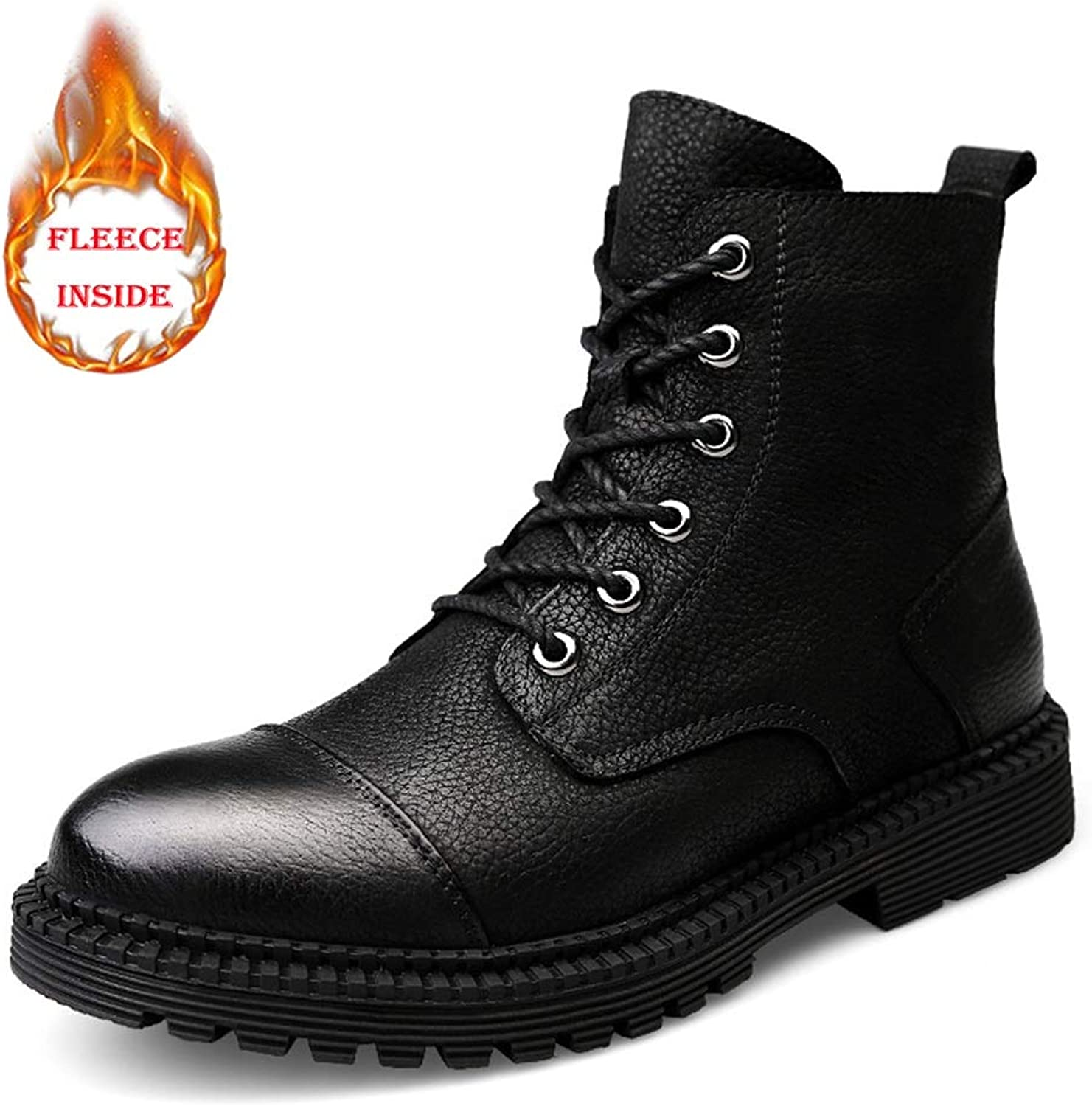 MUMUWU Men's Fashion Ankle Work Boot Casual Comfort Classic winter Fleece Inside Warm High Top Boot Winter