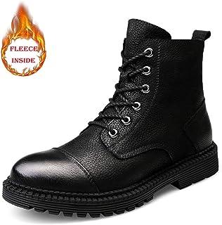 JIANFEI LIANG Ankle Work Boot for Men Casual Comfort Classic Winter Fleece Inside Warm High Top Boot Casual (Conventional Optional) (Color : Warm Black, Size : 48 EU)