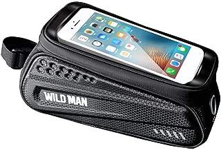 Questionno Bike Frame Bag Waterproof Bike Handlebar Bag Top Tube Cycling Pannier Bag Mobile Phone Screen Touch Holder Fits Phones Below 6.5 Inches