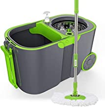 JUAN Magic Spin Mop and Bucket Sets with Wheels & 1 Microfiber Mop Heads & 1 Floor Brush Head Stainless Steel 360° Spinnin...