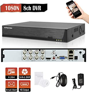 Evtevision 8CH Hybrid 5-in-1 1080P Lite Realtime CCTV Security DVR Video Recorder Remote Access QR Scan Motion Detection Alarm-Fits 1080P AHD/TVI/CVI/IP Camera,960H Camera(NO HDD)