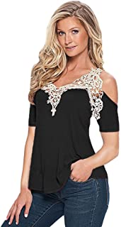 OrchidAmor Women Summer Lace Top Short Sleeve Blouse Ladies Casual Tops T-Shirt