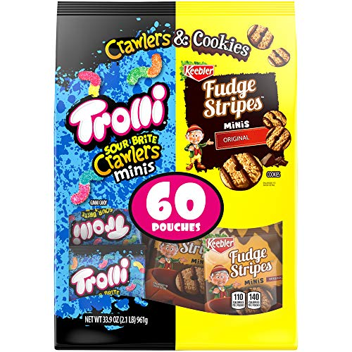 Trolli Sour Brite Crawlers & Fudge Stripes Snack Variety Pack, 60 Count