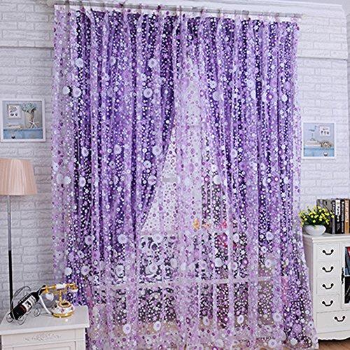 Llq Vorhang mit Blumenmuster, transparent, Voile, Tüll, Volant, Gardinen, Sichtschutz, Rosa / Lila, Polyester,...