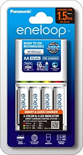 Panasonic AA & AAA Eneloop Smart & Quick Battery Charger with 4-Pack AA Ready-to-Use Ni-MH Rechargeable Batteries (K-KJ55M...