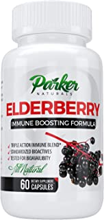 Immunity Boosting Elderberry Fruit Extract 1200mg 60caps. Premium Dietary Supplement All Natural Made in USA, FDA Approved. Triple Action Immune Blend Great for Flu, Cold Season