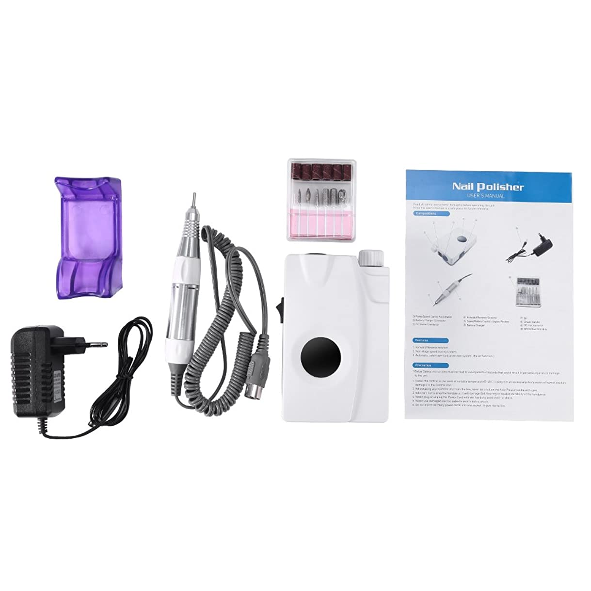 サーバ線振る舞い30000 RPM電気ネイルファイルドリルマシン、ディスプレイスクリーン、ポータブルコードレス6Vのドリルビット付き充電式研磨機、プロ用または家庭用ネイルアート機器(1)