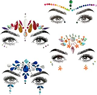 Face Jewels festival Rave Glitter Eye Body Rhinestone, 4 Sets Gems Sticker, bindi stickers for Women, Bindi Crystals Jewelry Decorations for Mermaid Rainbow Tears Stickers
