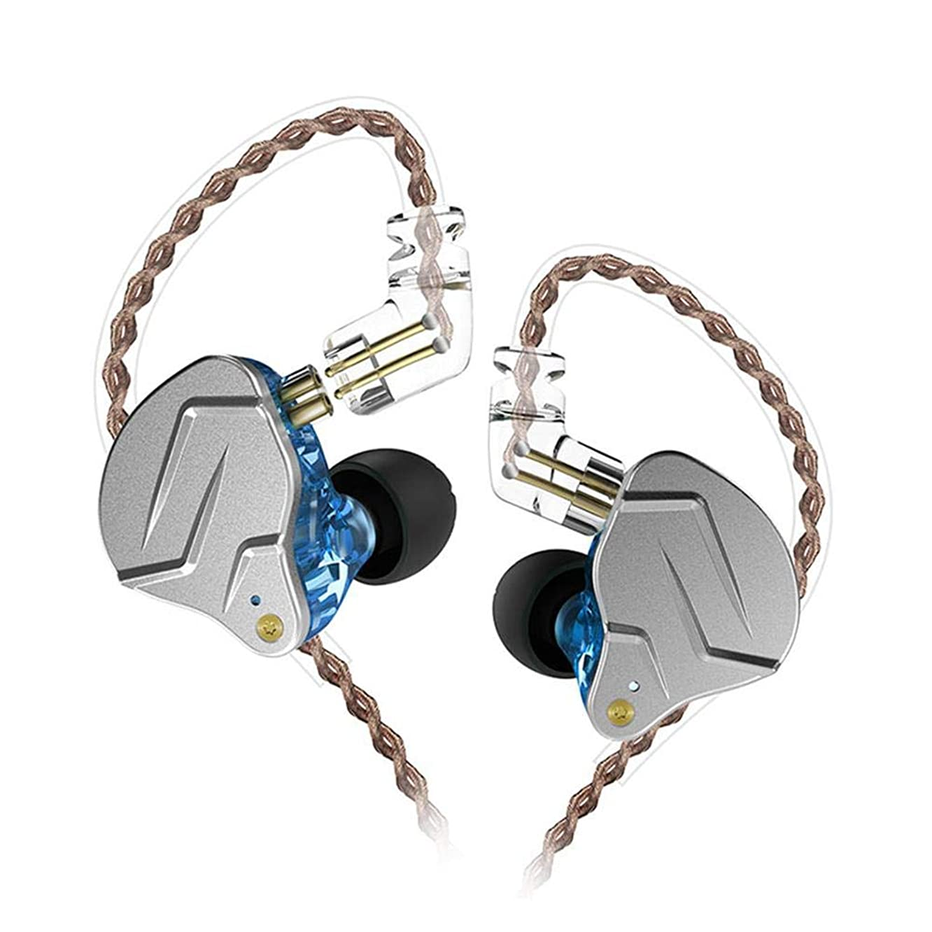 Goglor [2019 Newest] KZ ZSN Pro in-Ear Headset, Hybrid Driver HiFi Stereo Bass Dynamic Headphones Earphone with 2 Pins Detachable Cable, Noise Isolating in Ear Monitors(Blue, No Mic)