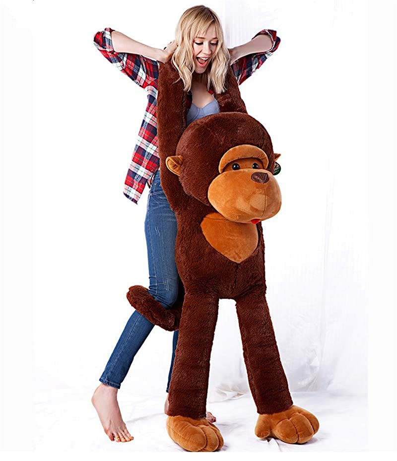 謝るの量熟達さるぬいぐるみ 可愛い猿ちゃん 超大トイ ふわふわ 柔らか抱き枕 (130cm)