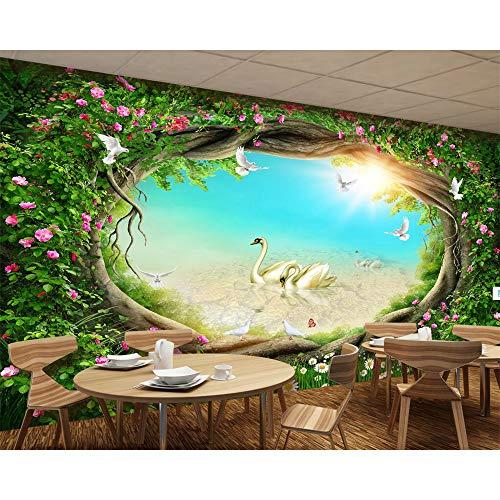 YunYiBZ wallpaper fairy tale forest garden flowers rattan grass TV background wall home decoration 3d wallpaper,400cm(W) x250cm(H)