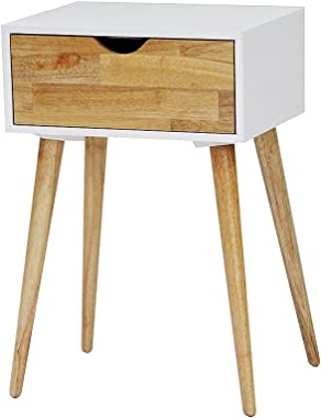 Heather Ann Creations Euro Collection Modern Accent Storage Cabinet, 1 Drawer End Table, White
