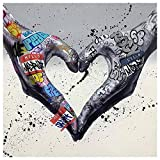 Gesture Heart Graffiti Art Canvas Painting Love Hands Wall Art Posters and Prints Decorative Picture for Living Room Home Decor (A,24x24 inch-no frame)