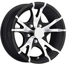 New 15 Inch 5 on 4.5 10 Spoke Black and Machined Aluminum Trailer Wheel Rim T07 56545BM