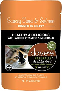 Dave's Naturally Healthy Wet Cat Food Pouches – Saucey Tuna and Beef Dinner in Gravy - 2.8 Ounce Pouches, 24 Count - Made in the USA