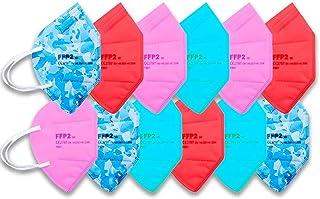 PACK 12 Mascarillas FFP2 COLORES · Homologadas · Certificado CE · Filtrado PFE 94% · Colores Surtidos Adultos · TOP VENTAS