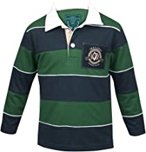 Croker Kids Green & Navy Striped Rugby Jersey - Cotton Long Sleeve Polo Shirt