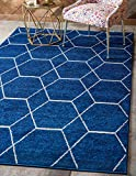 Unique Loom Trellis Frieze Collection Lattice Moroccan Geometric Modern Navy Blue Area Rug (5' 0 x 8' 0)