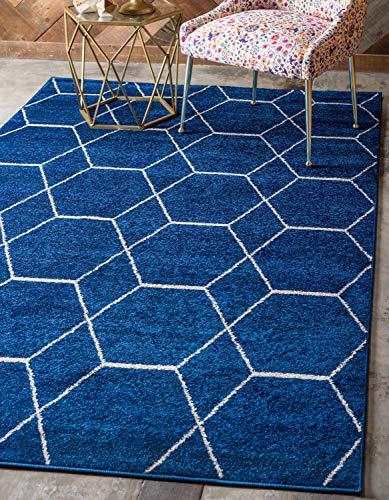 Modern navy blue area rug