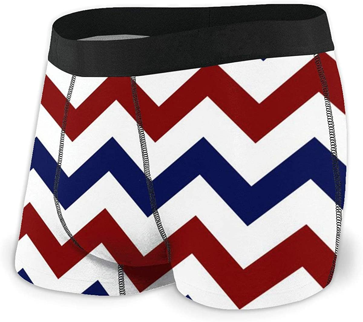 Mens Boxer Briefs Red, White, and Blue Chevron Stripe Breathable Underwear
