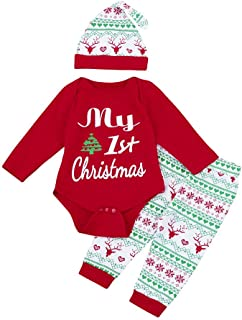 Swyss Toddler Baby Girls Boys My First Christmas Romper Elk Snowflake Pants and Hat 3PC Outfits Clothes